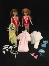 (2) STRAIGHT LEG SKIPPERS REDHEAD AND BRUNETTE IN ORIGINAL SWIMSUITS.  COMES WITH OUTFITS