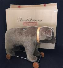 STEIFF MOHAIR BEAR ON WHEELS 1921 REPLICA, 43cm, WITH GROWLER AND ORIGINAL BOX.  THIS ITEM COMES FROM A PET FRIENDLY HOME AND HAS BE...