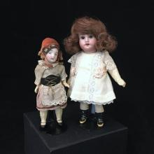 (2) GERMAN BISQUE HEAD DOLLS.  5 1/4