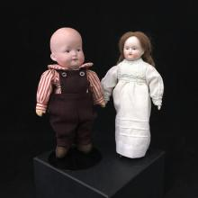 (2) GERMAN BISQUE HEAD DOLLS INCLUDING 7 1/4