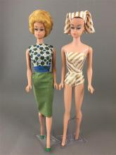 2 BARBIES INCLUDING FASHION QUEEN IN ORIGINAL SWIMSUIT AND TURBIN (NO WIGS) AND  FASHION QUEEN WIG WARDROBE HEAD ON BARBIE BODY WITH...