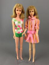 (2) BLONDE FRANCIES INCLUDING BENDABLE LEG IN ORIGINAL SWIMSUIT AND STRAIGHT LEG WEARING DRESS FROM