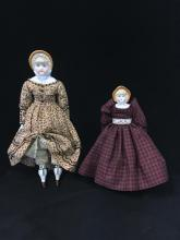 (2) BONNETED CHINA HEAD LADIES.  9 1/2