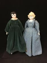 (2) CHINA HEAD DOLLS INCLUDING BLONDE CURLY HAIR CHILD INCISED