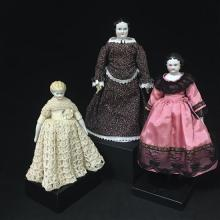 (3) CHINA HEAD LADIES INCLUDNG LOWBROW AND FLATTOP, 7 1/2