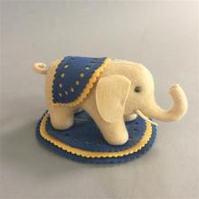 STEIFF FELT ELEPHANT PINCUSHION, MUSEUM COLLECTION REPLICA 1880, 100 YEAR ANNIVERSARY, ORIGINAL BOX, SOME CRACKS IN PLASTIC, 3