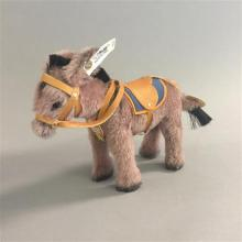 STEIFF MOHAIR-PLUSH YES/NO DONKEY MOVES HEAD BY TURNING ITS TAIL, 1931 REPLICA, WITH ORIGINAL BOX AND SHIPPER, PLASTIC IN BOX LOOSE....