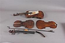 LOT VIOLIN BY COLUMBUS, OHIO MAKER AND PARTS OF ANOTHER VIOLIN