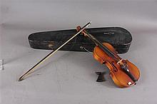 STRADIVARIUS COPY VIOLIN WITH BOW AND CASE (ROUGH CONDITION)