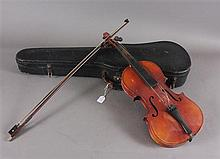 COPY OF ANTONIO STRADIVARIUS VIOLIN AND BOW IN CASE, MADE IN CZECHO-SLOVAKIA