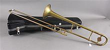 AMERICAN PREP BRASS TONE TROMBONE, SOME LIGHT DENTS, WITH CASE