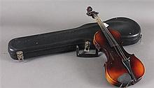 STRADIVARIUS COPY VIOLIN, MISSING STRINGS WITH CASE