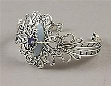 CAROLYN POLLACK STERLING SILVER CUFF BRACELET WITH BLUE AGATE AND AMETHYST STONES