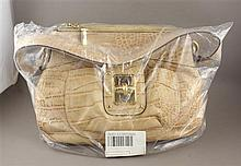 B. MAKOWSKY BEIGE CROC EMBOSSED GLOVE LEATHER HOBO BAG WITH ORIGINAL TAGS