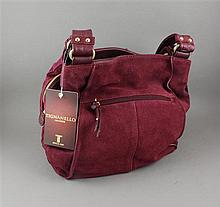 TIGNANELLO CRANBERRY SUEDE PURSE WITH ORIGINAL TAGS