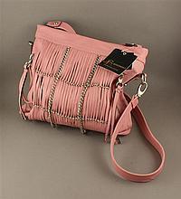 B. MAKOWSKY PINK LEATHER PURSE WITH SILVER CHAIN ACCENTS