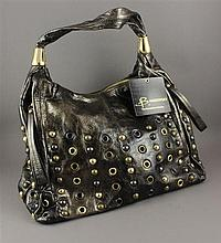 B. MAKOWSKY METALLIC BRONZE STUDDED AND RIVETED HOBO BAG WITH ZIP TOP WITH ORIGINAL TAG