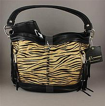 B. MAKOWSKY TAN AND BLACK LEATHER ZEBRA LIKE PATTERN PURSE WITH BLACK FRINGE, ORIGINAL TAG