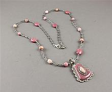 CAROLYN POLLACK RHODONITE, PEARL AND STERLING NECKLACE AND ILLUSION ENHANCER
