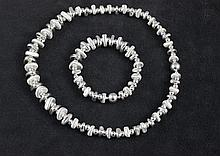 STERLING SILVER NUGGET STYLE BEADED NECKLACE AND BRACELET SET