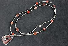 CAROLYN POLLACK STERLING, TIGER EYE, AND PEARL NECKLACE WITH ILLUSION ENHANCER