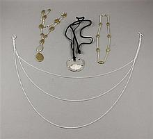 THREE ROBERT LEE MORRIS STERLING SILVER NECKLACES INCLUDING BRASS ACCENTED, SAND DOLLAR PENDANT AND CHAINS