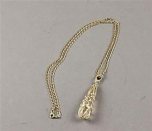 14K YELLOW GOLD MARINER CHAIN NECKLACE WITH CRYSTAL DROP ENHANCER