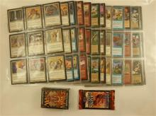 LOT MAGIC THE GATHERING CARDS INCLUDING URZA''S SAGA 15 CARD PACK, MIRAGE 60 CARD BOX AND 13 SLEEVES WITH 230 CARDS