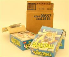 LOT 3 BOXES FLEER 1989 BASKETBALL TRADING CARDS & PHOTO STICKERS UNOPENED RACK PAKS