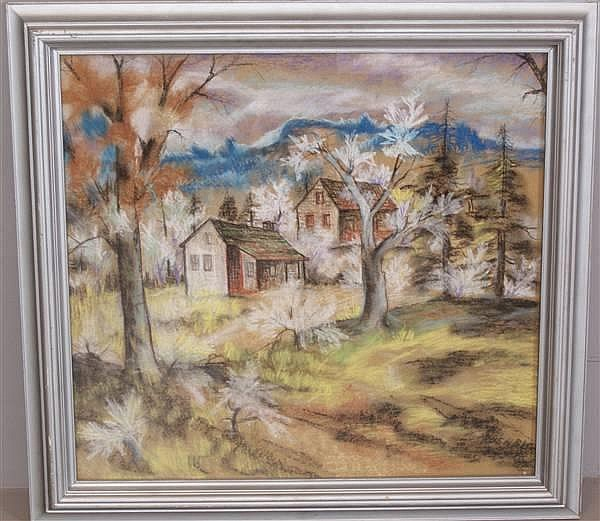 H. GREGORY PRUSHECK (1897 - 1970 CLEVELAND OHIO) PASTEL OHIO LANDSCAPE WITH CABINS, SIGNED 28