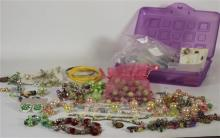BOX LOT JEWELRY INCLUDING NINE PAIRS ASSORTED COSTUME EARRINGS, WIRE-LINKED LAYERED BEADED PASTEL COLORED NECKLACE, AND AVON COMMEMO...