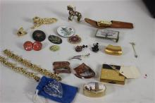 BOX LOT COSTUME JEWELRY INCLUDING JEWELED AND ENAMELED