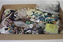 BOX LOT COSTUME JEWELRY, MOSTLY BEADED NECKLACES