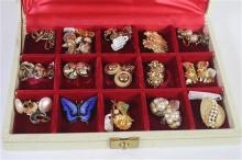 COSTUME JEWELRY PINS AND EARRINGS IN JEWELRY BOX