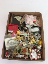 BOX LOT COSTUME JEWELRY MOSTLY CHRISTMAS
