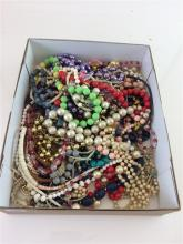 BOX LOT COSTUME JEWELRY MOSTLY BEADED NECKLACES