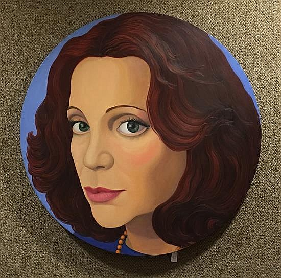 CECILE GRAY BAZELON  (AMERICAN, 20TH CENTURY) OIL ON ROUND CANVAS PORTRAIT