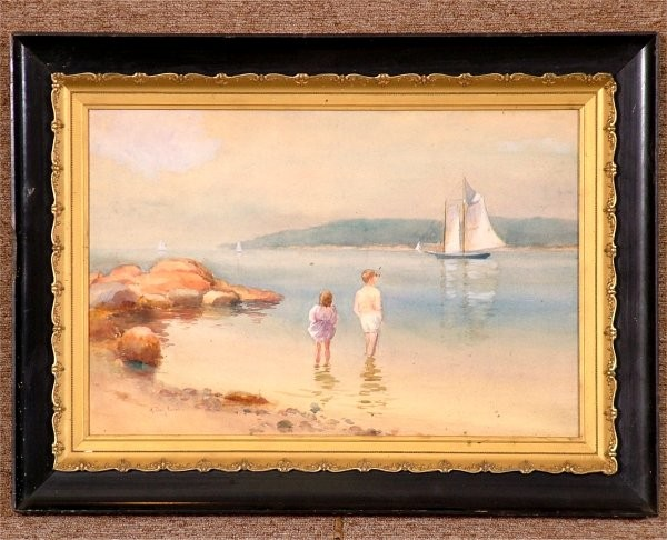 K. LEVIN FARRELI (1857-1951 PHILADELPHIA, PA) WATERCOLOR, LAKE SCENE W/CHILDREN, SIGNED 20 X 13 1/2