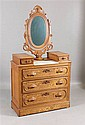 OAK VICTORIAN DROP CENTER DRESSER WITH MARBLE TOP INSERT, CARVED PULLS AND MIRROR