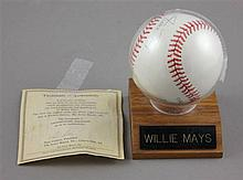 SIGNED WILLIE MAYS BASEBALL IN CASE