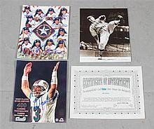 (3) SLEEVES SIGNED PHOTOS AND PROMOTIONAL MATERIALS INCLUDE DAN MARINO
