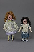2 BISQUE SOCKET HEAD DOLLS