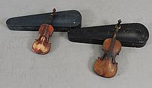 (2) VIOLIN BODIES IN HARD CASE ONE CHILD SIZE, 20