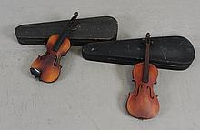 (2) GERMAN VIOLIN BODIES WITH HARD CASES, 22 1/2