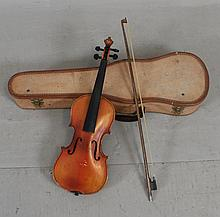 CZECHOSLOVAKIA STRADIVARIUS COPY VIOLIN INCLUDING CASE AND BOW 21 1/2
