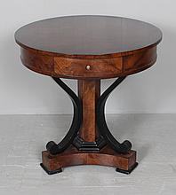 CUSTOM HAND CRAFTED BURL MAHOGANY ROUND TABLE WITH TRIANGULAR PEDESTAL BASE