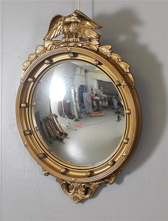 Round Goldtone Framed Concave Mirror With Eagle Crest 30 X 21