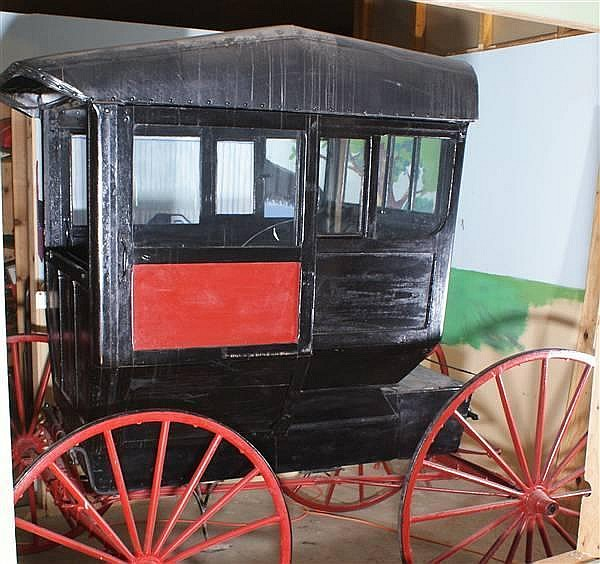 EARLY ENCLOSED WOOD BODY CARRIAGE BY AHLBRAND CARRIAGE COMPANY SEYMOUR, INDIANA