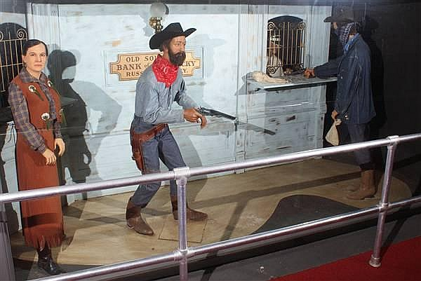 JAMES GANG ROBBING BANK WAX FIGURES BY KATHERINE STUBERGH AND OTHER ARTISTS
