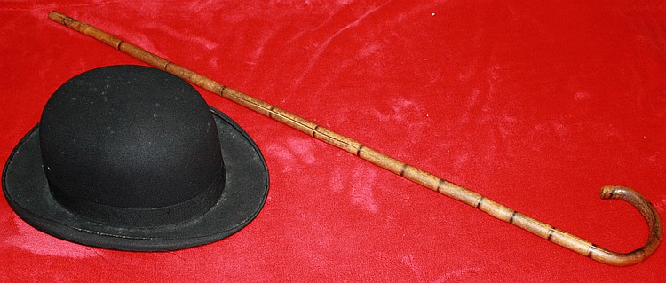 "CHARLIE CHAPLIN CANE AND BOWLER HAT FROM MOVIE ""LITTLE TRAMP"" 1936 WITH PROVENANCE"